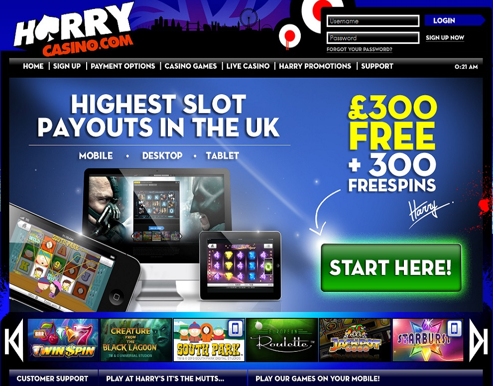 Harry – up to £300 + 300 Free spins