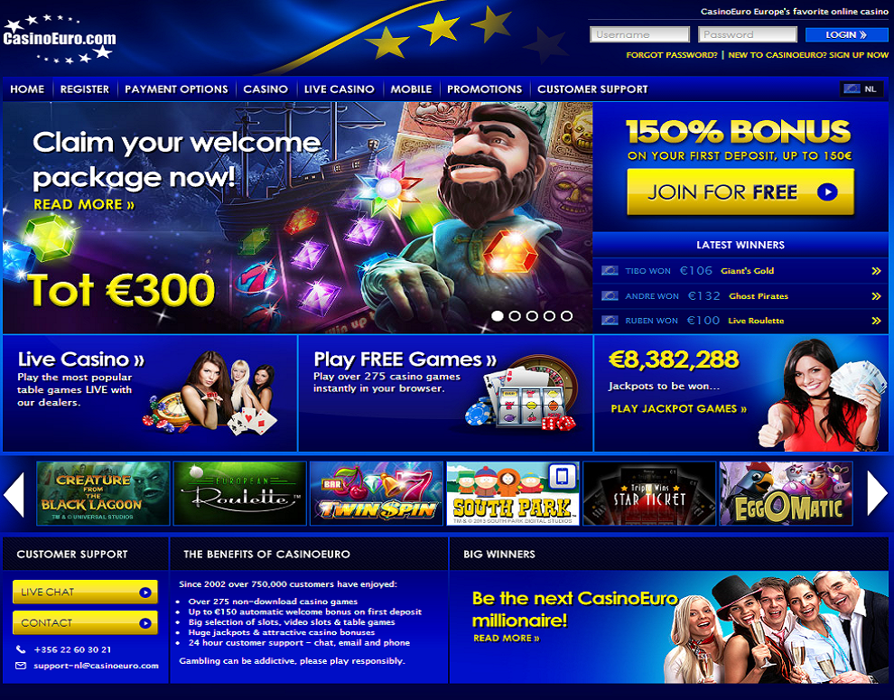 CasinoEuro – bonus up to €300