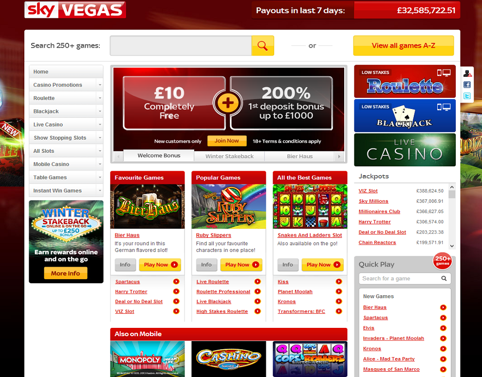 SkyVegas – up to £1000 + £10 Free